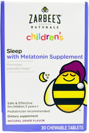 Childrens, Sleep with Melatonin Supplement, Natural Grape, 30 Chewable Tablets by Zarbees, 補充劑,褪黑激素液,兒童健康,兒童草藥 HK 香港