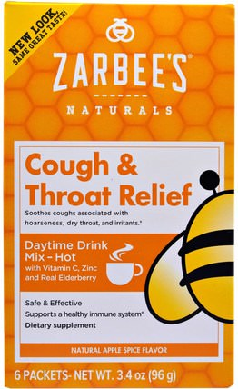 Cough & Throat Relief, Daytime Drink, Apple Spice, 6 Packets, 3.4 oz (96 g) by Zarbees, 健康,感冒流感和病毒,喉嚨護理噴霧,感冒和流感 HK 香港