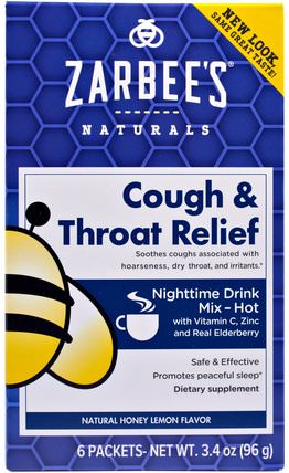 Cough & Throat Relief, Nighttime Drink, Natural Honey Lemon Flavor, 6 Packets, 3.4 oz (96 g) by Zarbees, 補充劑,褪黑激素3毫克 HK 香港