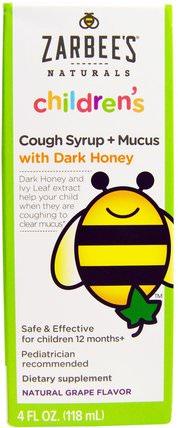 Naturals, Childrens Cough Syrup + Mucus, with Dark Honey, Natural Grape Flavor, 4 fl oz (118 ml) by Zarbees, 健康,感冒流感和病毒,咳嗽糖漿,兒童健康,兒童草藥 HK 香港