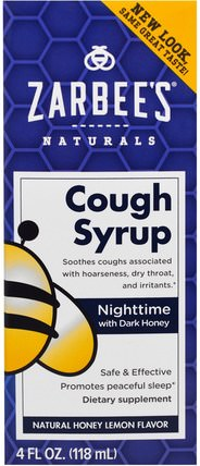 Zarbees, Nighttime Cough Syrup, Honey Lemon, 4 fl oz 補充劑,褪黑激素3毫克