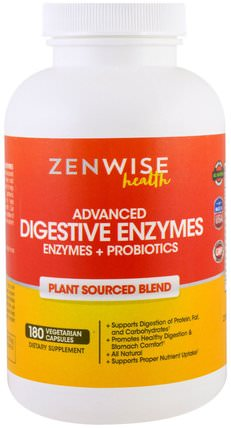 Advanced Digestive Enzymes with Enzymes and Probiotics, Plant Sourced Blend, 180 Veggie Caps by Zenwise Health, 補充劑,消化酶 HK 香港