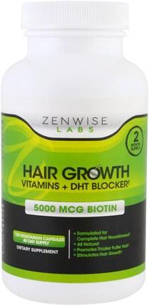 Hair Growth, Vitamins Plus DHT Blocker, 120 Veggie Caps by Zenwise Health, 維生素,維生素b HK 香港