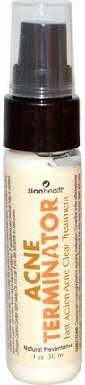 Acne Terminator, 1 oz (30 ml) by Zion Health, 健康,粉刺,皮膚型痘痘皮膚,美容,水楊酸 HK 香港