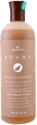 Adama Ancient Minerals, Hydrating Shampoo, Coconut Jasmine, 16 fl oz (473 ml) by Zion Health, 洗澡,美容,頭髮,頭皮,洗髮水,護髮素 HK 香港