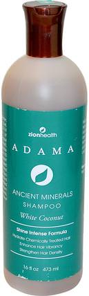 Adama, Ancient Minerals Shampoo, White Coconut, 16 fl oz (473 ml) by Zion Health, 洗澡,美容,頭髮,頭皮,洗髮水,護髮素 HK 香港
