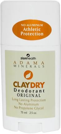 Adama Minerals, Clay Dry Solid Deodorant, Original, 2.5 oz (70 g) by Zion Health, 洗澡,美容,除臭劑 HK 香港