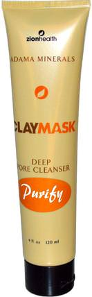 Clay Mask, Deep Pore Cleanser Purify, 4 fl oz (120 ml) by Zion Health, 健康,粉刺,皮膚類型痘痘皮膚,美容,面膜,粉刺,瑕疵面具 HK 香港