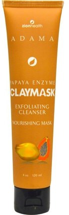 Papaya Enzyme Claymask, 4 oz (120 ml) by Zion Health, 美容,面膜,糖,水果面膜,泥面膜 HK 香港
