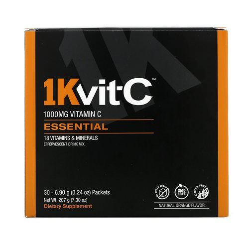 1Kvit-C, Vitamin C, Essential, Effervescent Drink Mix, Natural Orange Flavor, 1,000 mg, 30 Packets, 0.24 oz (6.90 g) Each Review