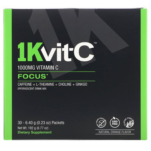 1Kvit-C, Vitamin C, Focus, Effervescent Drink Mix, Natural Orange Flavor, 1,000 mg, 30 packets. 0.23 oz (6.40 g) Each Review
