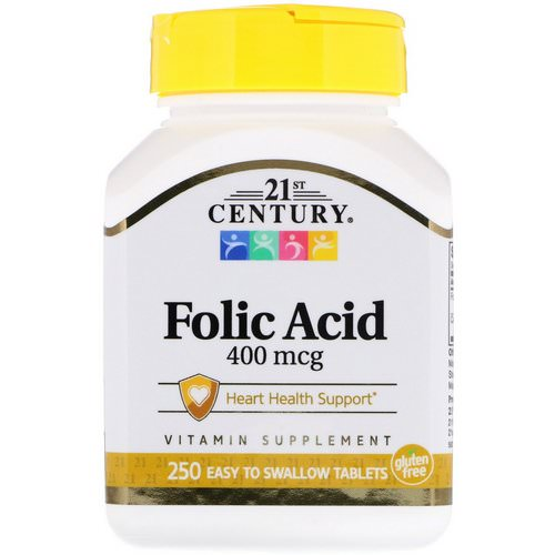 21st Century, Folic Acid, 400 mcg, 250 Easy to Swallow Tablets Review
