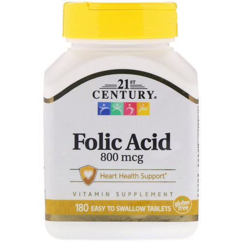 21st Century, Folic Acid, 800 mcg, 180 Easy to Swallow Tablets Review
