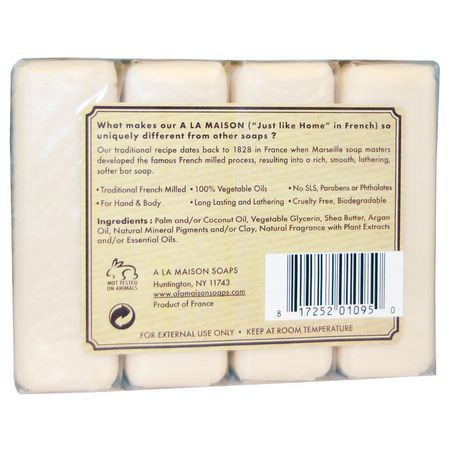 肥皂, 淋浴: A La Maison de Provence, Hand & Body Bar Soap, Pure Coconut, 4 Bars, 3.5 oz Each