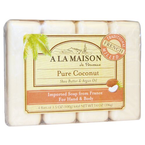 A La Maison de Provence, Hand & Body Bar Soap, Pure Coconut, 4 Bars, 3.5 oz Each Review