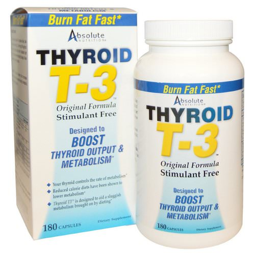 Absolute Nutrition, Thyroid T-3, Original Formula, 180 Capsules Review