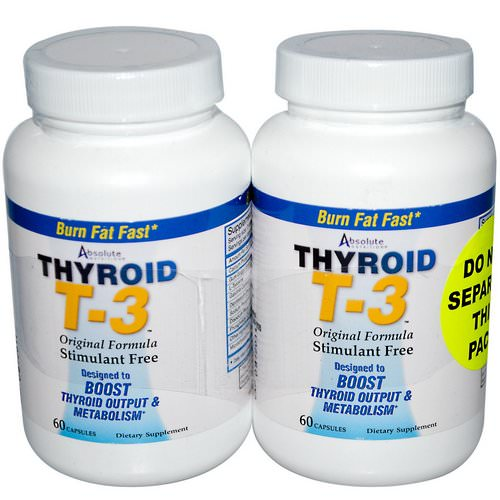 Absolute Nutrition, Thyroid T-3, Original Formula, 2 Bottles, 60 Capsules Each Review