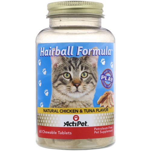 Actipet, Hairball Formula, Natural Chicken & Tuna Flavor, 60 Chewable Tablets Review
