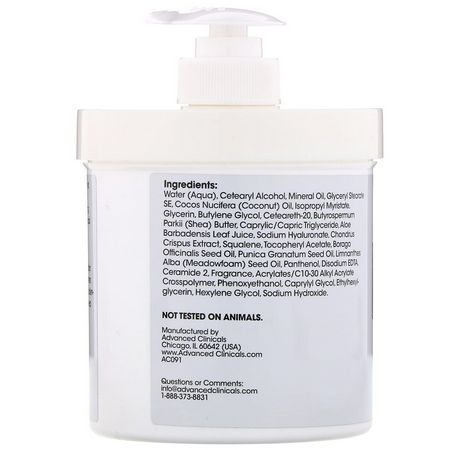 面霜, 玻尿酸精華液: Advanced Clinicals, Hyaluronic Acid, Instant Skin Hydrator, 16 oz (454 g)
