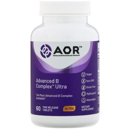 Advanced Orthomolecular Research AOR, Advanced B Complex Ultra, 60 Time Release Tablets Review