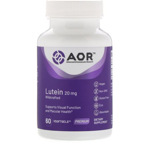 Advanced Orthomolecular Research AOR, Lutein, 20 mg, 60 VSoftgels Review