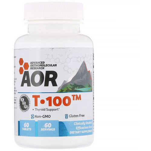 Advanced Orthomolecular Research AOR, T-100, Thyroid Support, 60 Tablets Review