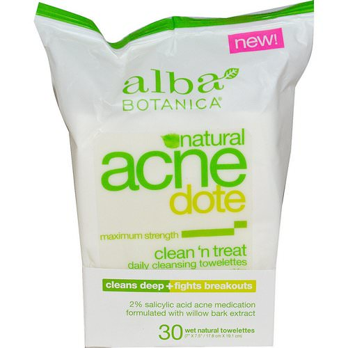 Alba Botanica, Acne Dote, Daily Cleansing Towelettes, Oil Free, 30 Wet Towelettes Review