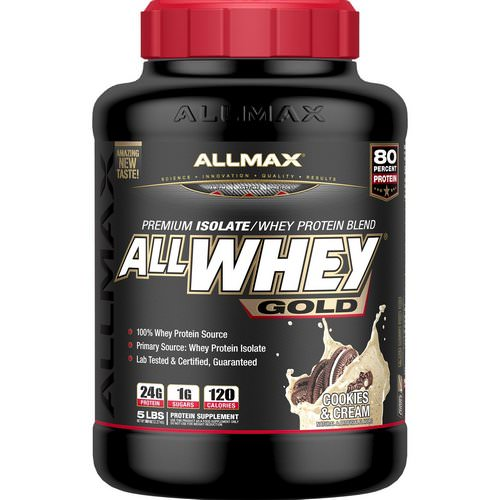 ALLMAX Nutrition, AllWhey Gold, 100% Whey Protein + Premium Whey Protein Isolate, Cookies & Cream, 5 lbs (2.27 kg) Review