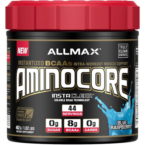 ALLMAX Nutrition, AMINOCORE, Instantized BCAAs, Blue Raspberry, 1.02 lbs (462 g) Review