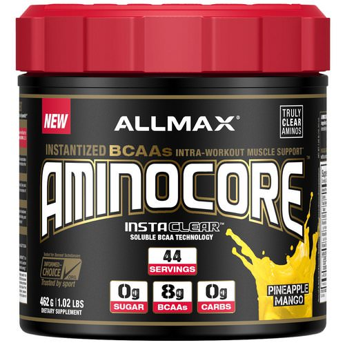 ALLMAX Nutrition, AMINOCORE, BCAA, 8G BCAAs, 100% Pure 45:30:25 Ratio, Gluten Free, Pineapple Mango, 1.02 lbs. (462 g) Review
