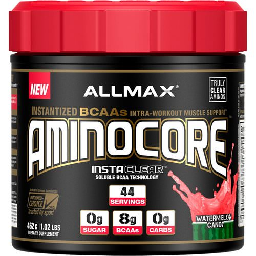 ALLMAX Nutrition, AMINOCORE, BCAA, 8G BCAAs, 100% Pure 45:30:25 Ratio, Gluten Free, Watermelon Candy, 1.02 lb (462 g) Review