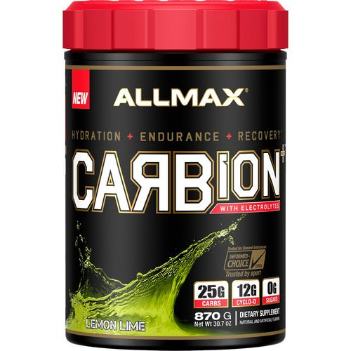 ALLMAX Nutrition, CARBion+ with Electrolytes + Hydration, Gluten-Free + Vegan Certified, Lemon Lime, 1.91 lbs (870 g) Review