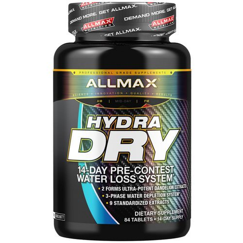 ALLMAX Nutrition, HydraDry, Ultra-Potent Diuretic + Electrolyte Stabilizer, 84 Tablets Review