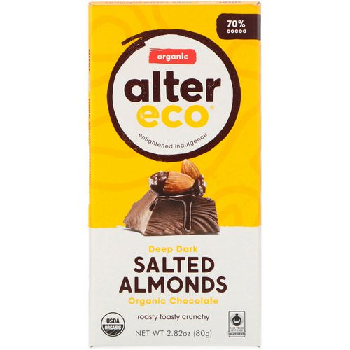 Alter Eco, Organic Chocolate Bar, Deep Dark Salted Almonds, 2.82 oz (80g) Review