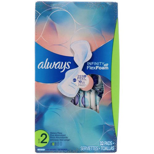 Always, Infinity Flex Foam with Flexi-Wings, Size 2, Heavy Flow, Unscented, 32 Pads Review
