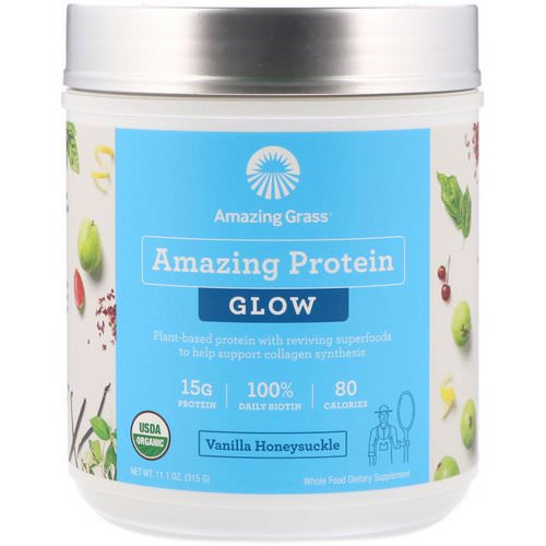 Amazing Grass, Organic Amazing Protein with Biotin, Glow, Vanilla Honeysuckle, 11.1 oz (315 g) Review