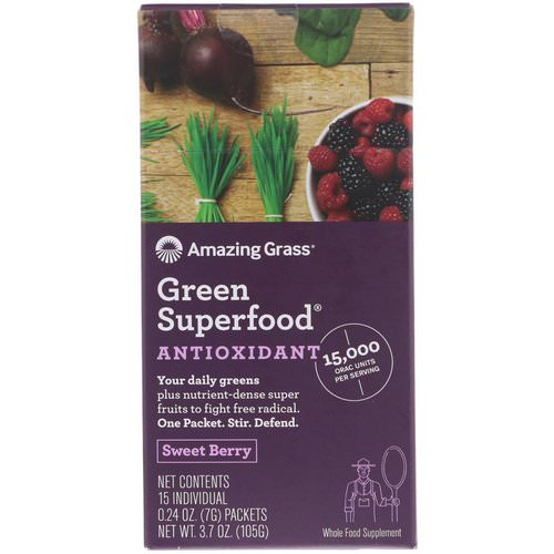 Amazing Grass, Green Superfood, Antioxidant, Sweet Berry, 15 Individual Packets, 0.24 oz (7 g) Each Review