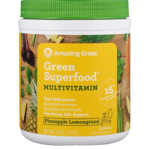 Amazing Grass, Green Superfood, Multivitamin, Pineapple Lemongrass, 7.4 oz (210 g) Review