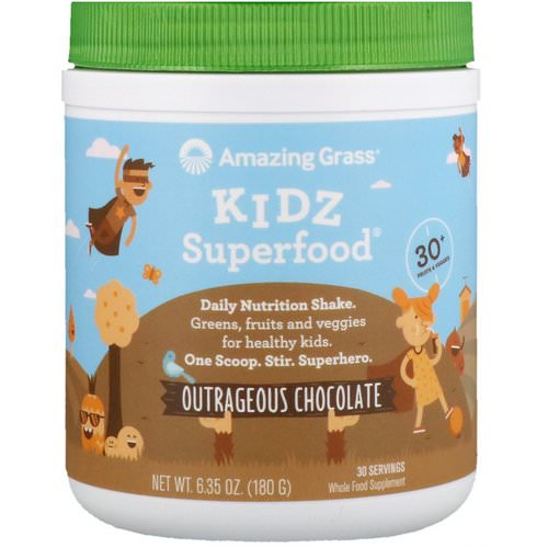 Amazing Grass, Kidz Superfood, Outrageous Chocolate, 6.35 oz (180 g) Review