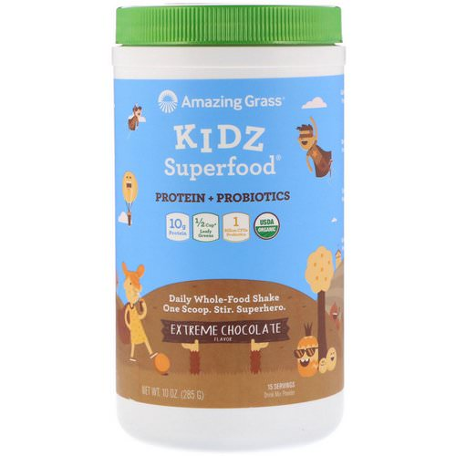Amazing Grass, Kidz Superfood, Protein + Probiotics, Extreme Chocolate, 10 oz (285 g) Review