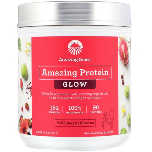 Amazing Grass, Organic Amazing Protein with Biotin, Glow, Wild Berry Hibiscus, 11.6 oz (330 g) Review