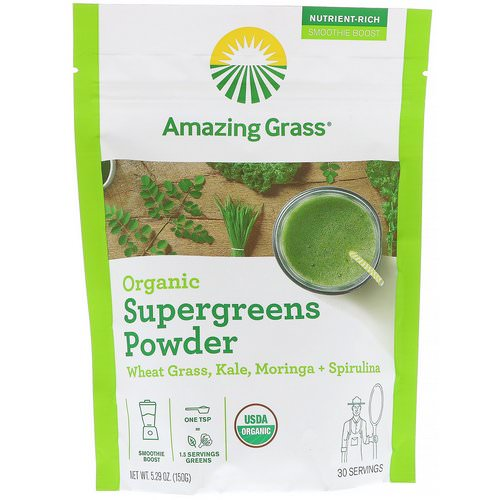 Amazing Grass, Organic SuperGreens Powder, 5.29 oz (150 g) Review