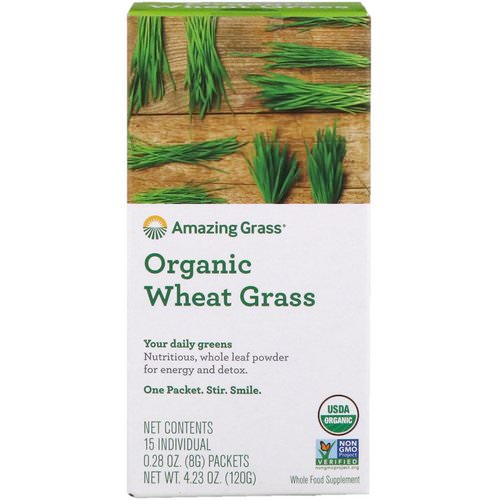 Amazing Grass, Organic Wheat Grass, 15 Individual Packets, 0.28 oz (8 g) Each Review