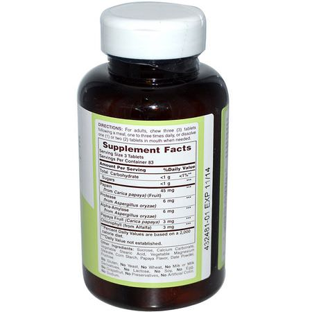 蛋白水解酶, 消化酶: American Health, Papaya Enzyme with Chlorophyll, 250 Chewable Tablets