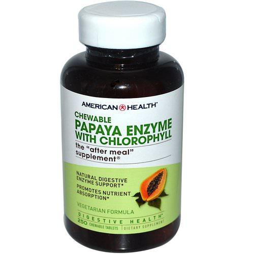 American Health, Papaya Enzyme with Chlorophyll, 250 Chewable Tablets Review
