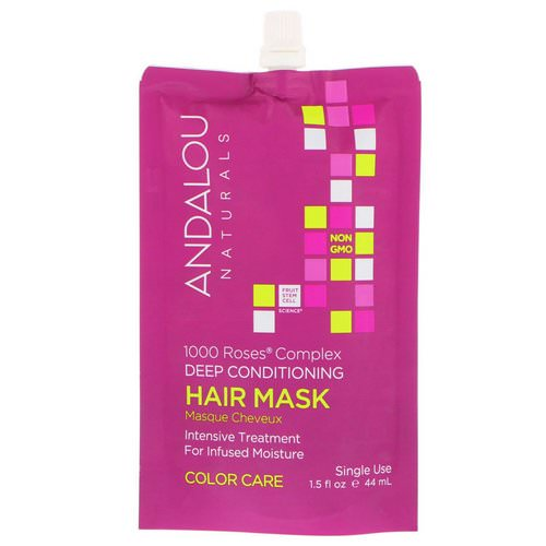 Andalou Naturals, 1000 Roses Complex Deep Conditioning, Color Care, Hair Mask, 1.5 fl oz (44 ml) Review