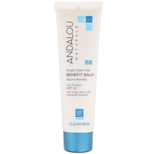 Andalou Naturals, BB Argan Stem Cell Benefit Balm, Clear Skin, SPF 30, Un-Tinted, 2 fl oz (58 ml) Review