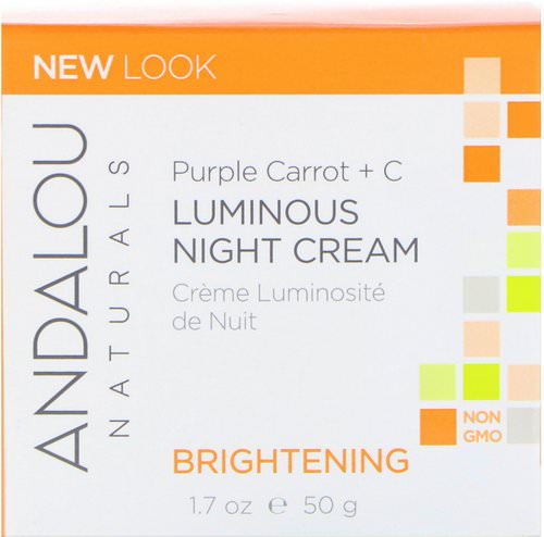 Andalou Naturals, Luminous Night Cream, Purple Carrot + C, Brightening, 1.7 fl oz (50 ml) Review