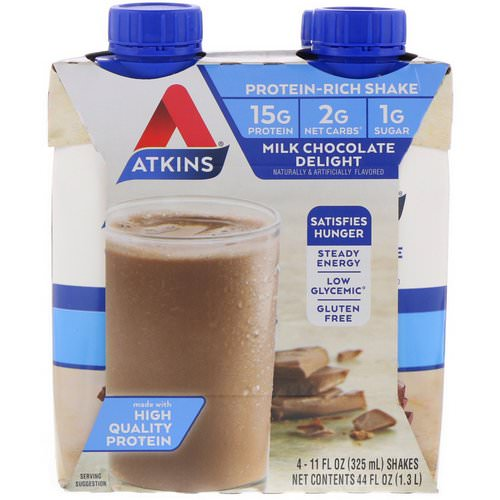 Atkins, Protein Rich Shake, Milk Chocolate Delight, 4 Shakes, 11 fl oz (325 ml) Each Review