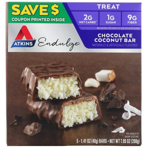 Atkins, Endulge, Chocolate Coconut Bar, 5 Bars, 1.41 oz (40 g) Each Review